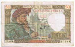 Billet 50 Francs Type Jacques Coeur 02 Octobre 1941 Z129 20009 - 50 F 1940-1942 ''Jacques Coeur''