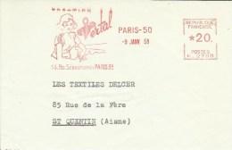 Lettre Flamme EMA Havas K 1958 VERTAL  Femme Textile Mode Habits  Metier Usine  75 Paris A7/25 - Marcophilie (Lettres)