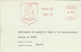 Lettre  EMA Havas 1956 INVICTA  Chauffage  Animaux Mammiferes Cheval .  Thematique 75 Paris  A7/28 - Chevaux