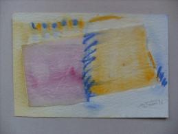Disegno Tecnica Mista Con Collage CONSUELO VALLINA (pittrice Spagna). Con Dedica A Luca Crippa - Altre Collezioni