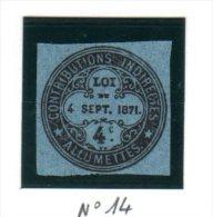 Fiscal, Fiscaux, Timbre Pour Boite D´Allumettes  ( Loi Du 4 Septembre 1871) N° 14 - Fiscales