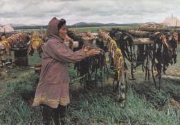 Cpa,alaska,séchage Des Peaux De Baleines,métiers Anciens,et Au Dos Pub Laboratoire La Biomarine,dieppe,france - Etats-Unis