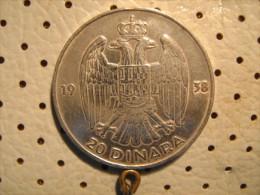 KINGDOM Of YUGOSLAVIA 20 Dinara 1938 Silver - Yugoslavia