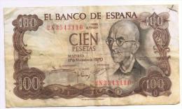 Espagne, Billet 100 Pesetas Type Manuel De Falla 1970 - [ 3] 1936-1975 : Regime Di Franco