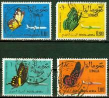 SOMALIA, POSTA AEREA, AIRMAIL, FAUNA, FARFALLE, BUTTERFLIES, 1961, FRANCOBOLLI USATI, Michel 24-27, Scott C75-C78 - Somalie (1960-...)