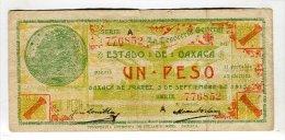 Mexique 1 Peso Revolution Mexicaine Etat D'oaxaca - México