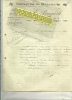 54 - Meurthe-et-moselle - PONT-ST-VINCENT - Facture BAGARD - Menuiserie – 1920 - 1900 – 1949