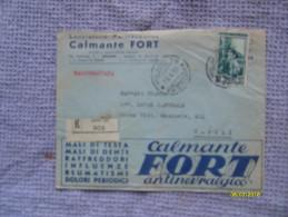 Raccomandata 19.4.1951 Laboratorio Farmaceutico Calmante FORT Valore Italia Al Lavoro L.65 - 6. 1946-.. Repubblica