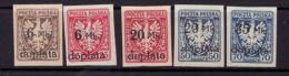 POLAND 1921 MICHEL NO: 32-36 POSTAGE DUE Mint Without Gum - Nuevos