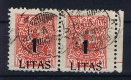 Deutsche Reich: Memel Michel  204 Used, Pair Right Stamps Has Fold, Sheetmargin - Germany