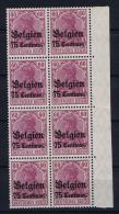Deutsche Reich: Mi. 6 MNH/** Belgien 8-block Bogenrand - Besetzungen 1914-18