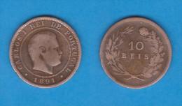 PORTUGAL  (D.Carlos I 1889-1908)  10  Reis 1.891 Bronce KM#532   MBC/VF   DL-10.742 - Portugal