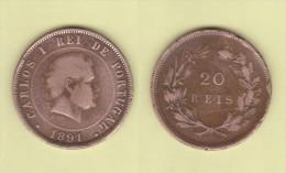 PORTUGAL  (D.Carlos I 1889-1908)  20  Reis 1.891  Bronce KM#533   MBC/VF   DL-10.747 - Portugal
