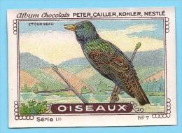 Nestlé - LII - Oiseaux, Birds - 7 - Etourneau Sansonnet, Starling, Spreeuw, Sturnus Vulgaris - Nestlé