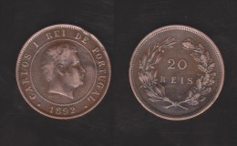 PORTUGAL  (D.Carlos I 1889-1908)  20  Reis 1.892  Bronce KM#533   MBC/VF   DL-10.749 - Portugal