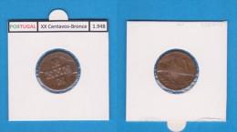 PORTUGAL  (REPÚBLICA)  XX Centavos 1.948  Bronce  KM#584   MBC/VF   DL-10.753 - Portugal
