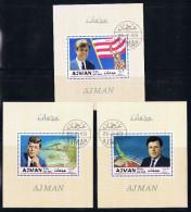 AJMAN  MNH 1979 Set Of 3 Souvenir Sheets The Kennedy Brothers  MH - Ajman