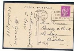 40c Type Paix Yvert 281 Seul Sur Carte Postale Illustrée, 1936, OMEC Rennes - 1932-39 Paix