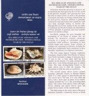 Stamped Information On Sea Shells, Shell, Andaman Nicobar Islands, Marine Ecology Environment, India 1998 - Coneshells