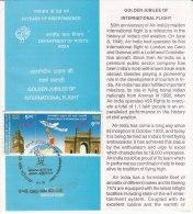 Stamped Information Se-tenent Golden Jubilee International Flight, Air India 1998, Airplane Big Ben Clock London Gateway - Airplanes