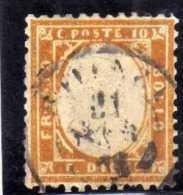 ITALIA REGNO ITALY KINGDOM 1862 VITTORIO EMANUELE II 10 CENT. ARANCIO OCRA ANNULLATO USED SIGNED - 1861-78 Vittorio Emanuele II