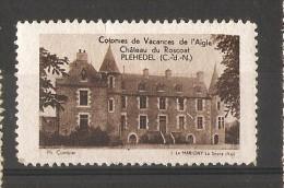 VIGNETTE - COLONIES DE VACANCES L´AIGLE ( Chateau Du Roscoat, Plehedel) - Commemorative Labels