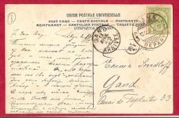 BR-5968     Brugstempel  LIEGE DEPART  1907             Op Fantasie- Of Fotokaart - 1893-1907 Armoiries