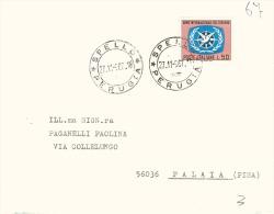 1967 £50 ANNO INTERNAZIONALE DEL TURISMO ISOLATO SU LETTERA DA SPELLO PERUGIA A PALAIA PISA - 1961-70: Storia Postale
