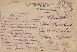 Savoie-Cachet Militaire- Les Marches- Hopital Auxillaire No 14- CP-1915 - Marcophilie (Lettres)