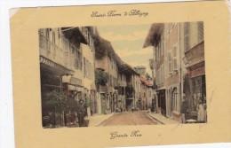 CPA 73 SAINT-PIERRE D'ALBIGNY ASSEZ RARE GRANDE RUE ANIMEE COLORISEE FACADE COMMERCE VOIR 1909 - Saint Pierre D'Albigny