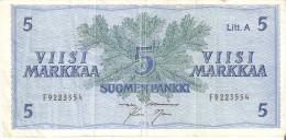 BILLETE DE FINLANDIA DE 5 MARKKAA DEL AÑO 1963  (BANKNOTE) - Finlandia