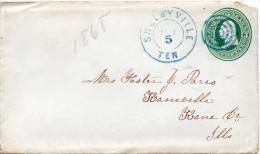 ETATS UNIS ENTIER POSTAL CACHET BLEU SHELBYVILLE - ...-1900