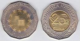 """CROACIA  25 KUNA 2004    BIMETALICA SC/UNC  KM#78 """"Entrada En La UE""""    T-DL-10.084 - Croacia"""