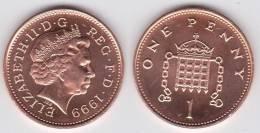 Gran Bretaña 1 Penny 1.999 Bronce KM#986 SC/UNC         T-DL-10.310 - 1 Penny & 1 New Penny