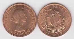 GRAN  BRETAÑA   1/2  PENNY  1.965  BRONCE  KM#896   SC/UNC   T-DL-10.229 - 1971-… : Monedas Decimales