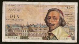 10NF RICHELIEU - 3.12.1959 - 1959-1966 Nouveaux Francs
