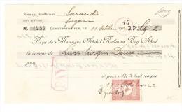 Billet à Ordre De 2 Livres Turques De 1922 Avec Timbre - 1921-... Republik