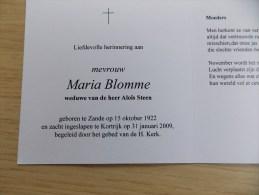 Doodsprentje Maria Blomme Zande 15/10/1922 Kortrijk 31/1/2009 ( Aloïs Steen) - Religion & Esotérisme