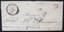 Cachet T 22 + Taxe 30 + Boite Rurale   --  LAC  --  AUXON  --  AUBE  --  1855  --  Indice 8 - Marcophilie (Lettres)