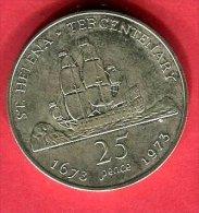 TRICENTENAIRE 1673 1973 25 PENCE TTB/SUP 42 - Saint Helena Island