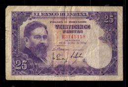 BILLETE DE 25 PESETAS DE 1954 - USADO - [ 3] 1936-1975: Franco