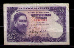 BILLETE DE 25 PESETAS DE 1954 - USADO BONITO - [ 3] 1936-1975: Franco