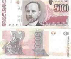 BILLETE BILLET BANCO CENTRAL DE LA REPUBLICA ARGENTINA 5000 AUSTRALES SERIE C PRESIDENTE MIGUEL JUAREZ CELMAN TBE - Argentina