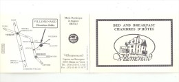 Carte Publicitaire Double :18 - Mehun Sur Yèvre - Vignoux Sur Barangeon - Villemard - Chambres D´Hôtes : Bed & Breakfast - Publicité