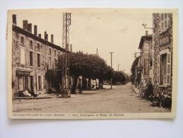 Cpa, Très Belle Vue Animée, Saint Barthélémy De Vals, Drôme, Rue Principale Et Route De Romans - Andere Gemeenten