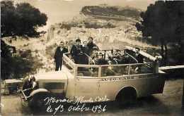 REF 596- Carte Photo -autocar -auto-cars -monaco -monte Carlo Octobre 1936  -carte Bon Etat  - - Non Classés