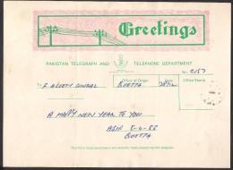 "PAKISTAN - GREETINGS TELEGRAM ""HAPPY NEW YEAR"" QUETTA To KARACHI 1988 - Pakistan"