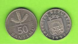 LATVIA - LETONIA - 50 Santimi   1992  KM13 - Latvia