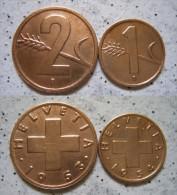 Schweiz 2 - 1 Rappen 1953 - 54 - Bronze                                     (X186) - Suiza