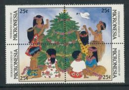 BL4-116 MICRONESIA 1988 MI 97-100st CHRISTMAS, WEIHNACHTEN, KERST, JUL, NOEL, NATAL, KERST. MNH, POSTFRIS, NEUF**. - Micronesië